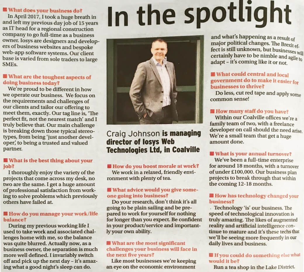 In the spotlight.Did anyone see the Leicester Mercury last night (20/11) - an informal Q&A session with our Managing Director, Craig Johnson.