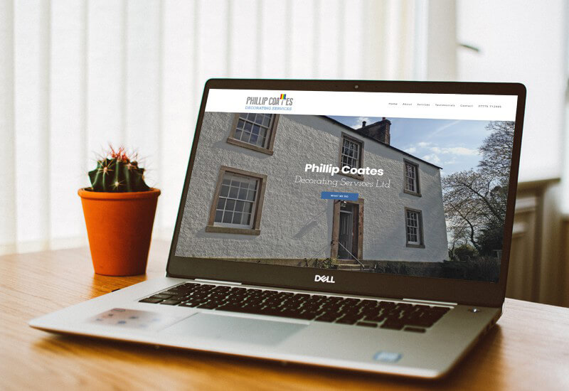 Website designed in Cumbria by Windermere based Iosys for Phillip Coates Decorating Services, Professional domestic painting and decorating